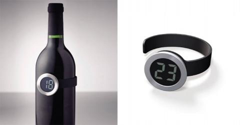 Thermomètre magnétique en bandeau très pratique pour mesurer la température d'un vin.