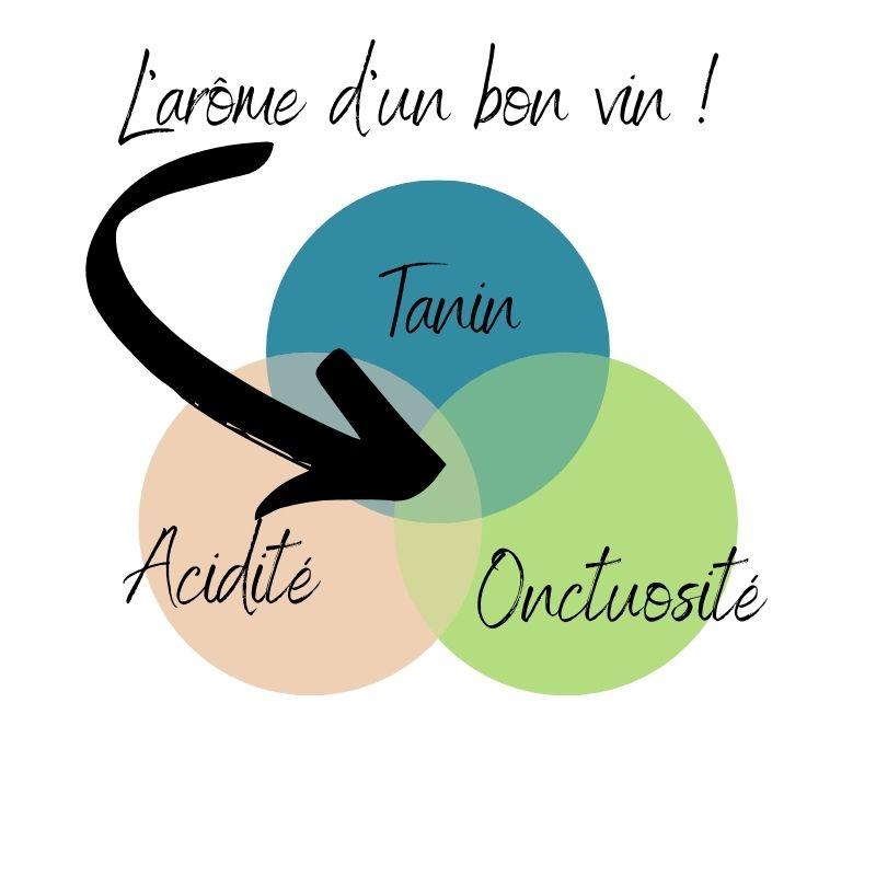 Diagrame de Quant expliquant comment reconnaitre un bon vin par ses arômes.
